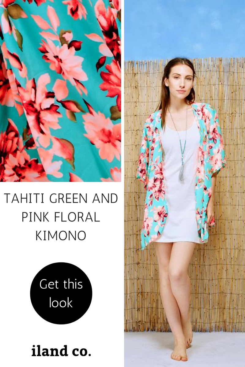 Tahiti Green and Pink Floral Kimono - iland co