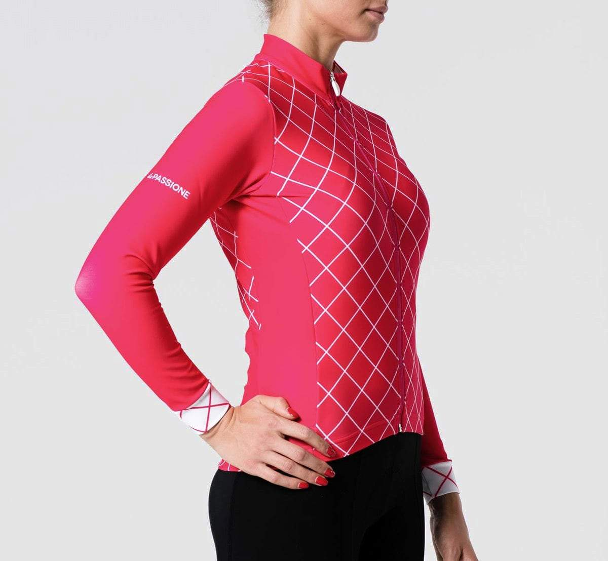 Checked Winter Jersey Raspberry Woman