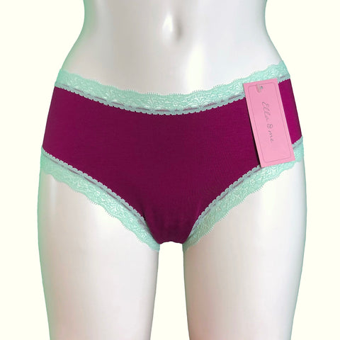 Soft Bamboo Jersey Classic Fit Knicker - Rosewood & Spearmint