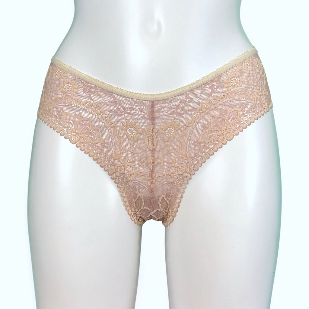 Textured Jacquard Lace Brazilian Knicker - Cameo & Cream