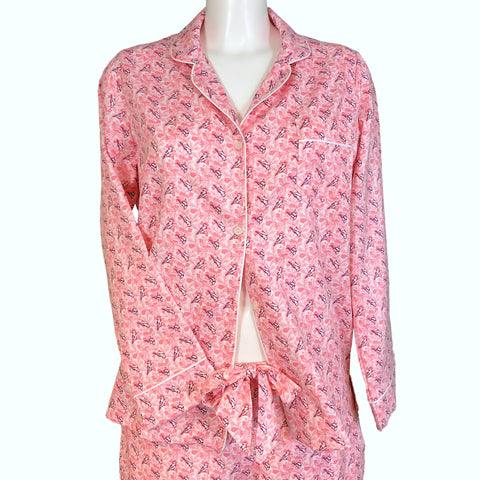 Classically Tailored 'Boyfriend' Pyjama - Pink Birds