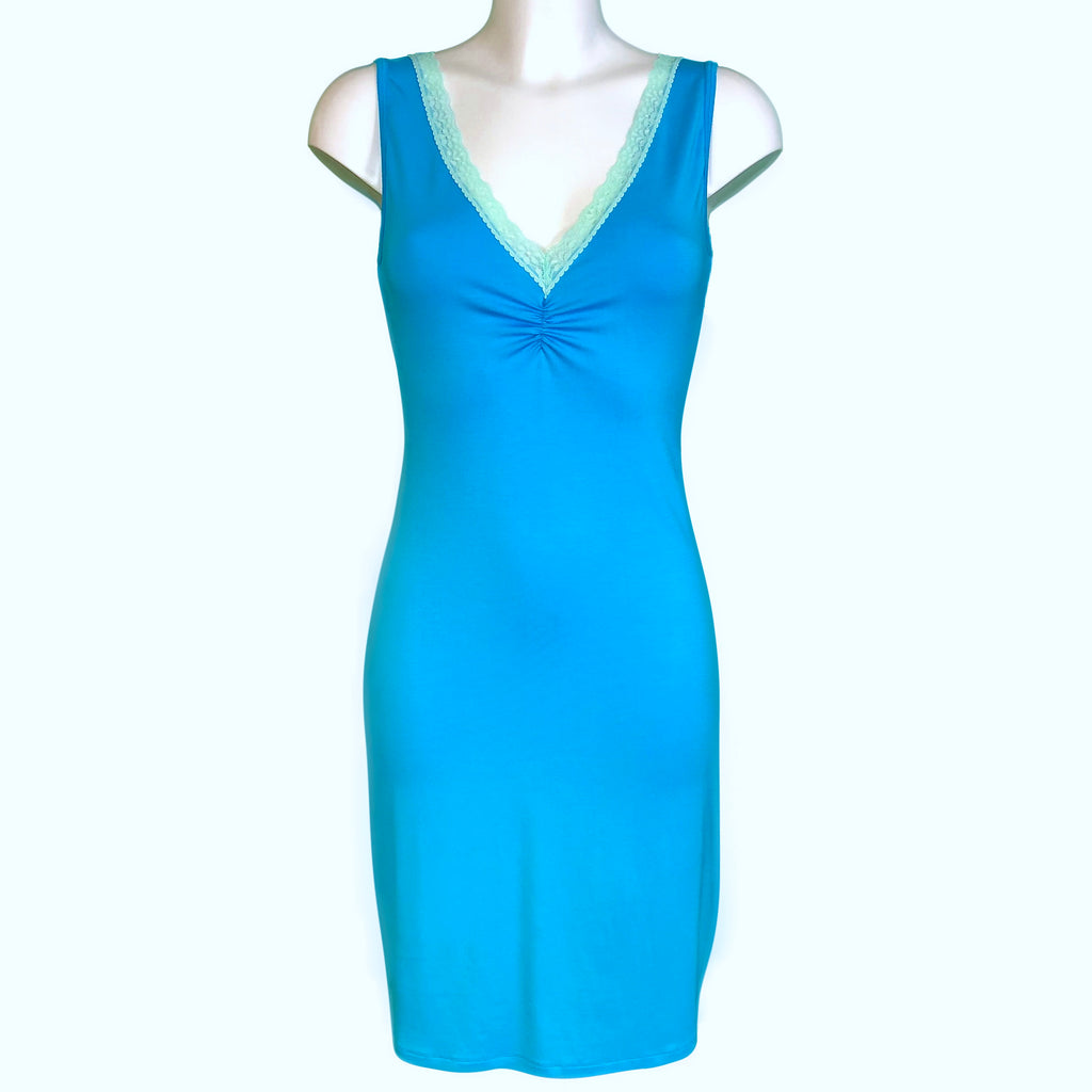 Bamboo Soft Knit Jersey Nightdress - Turquoise & Spearmint