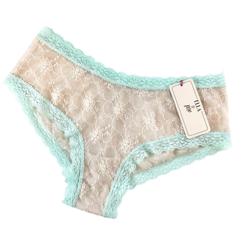 Ditsy Rose Fine Stretch Lace Classic Fit Knicker - Oyster & Spearmint