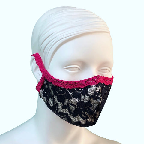 Lace & Silk Face Mask - Navy & Raspberry