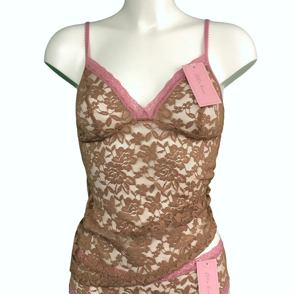 Signature Lace Strappy Cami Top - Gold Dust & Vintage Rose