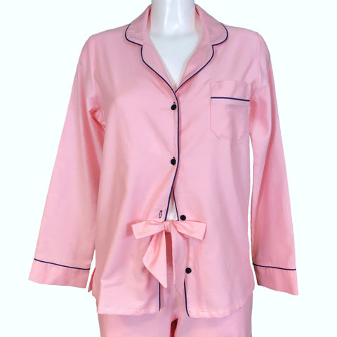 Classically Tailored 'Boyfriend' Pyjama - Pink / Navy