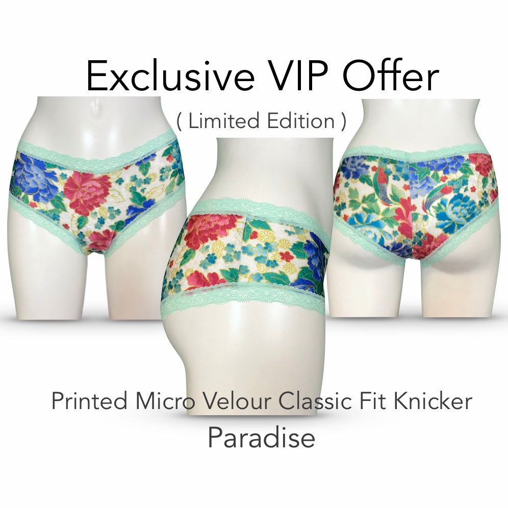 Printed Micro Velour Classic Fit Knicker - Paradise