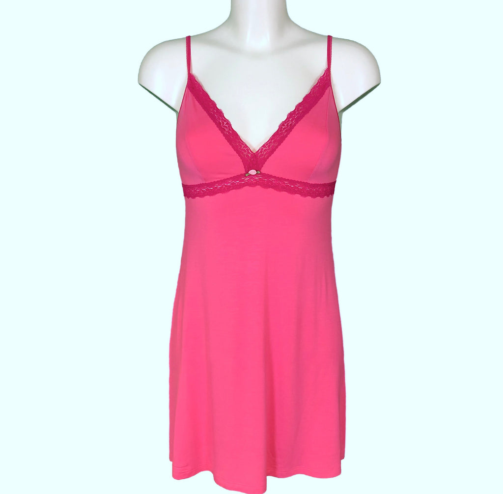 Bamboo Soft Knit Jersey Chemise - Candy Pink & Raspberry