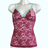 Signature Lace Strappy Cami Top - Rosewood & Spearmint