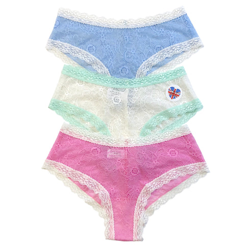 Super Soft Jacquard Lace Classic Knicker - 3 Pack