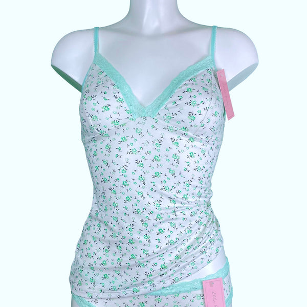 Soft Cotton Jersey Cami Top - Spearmint Daisy