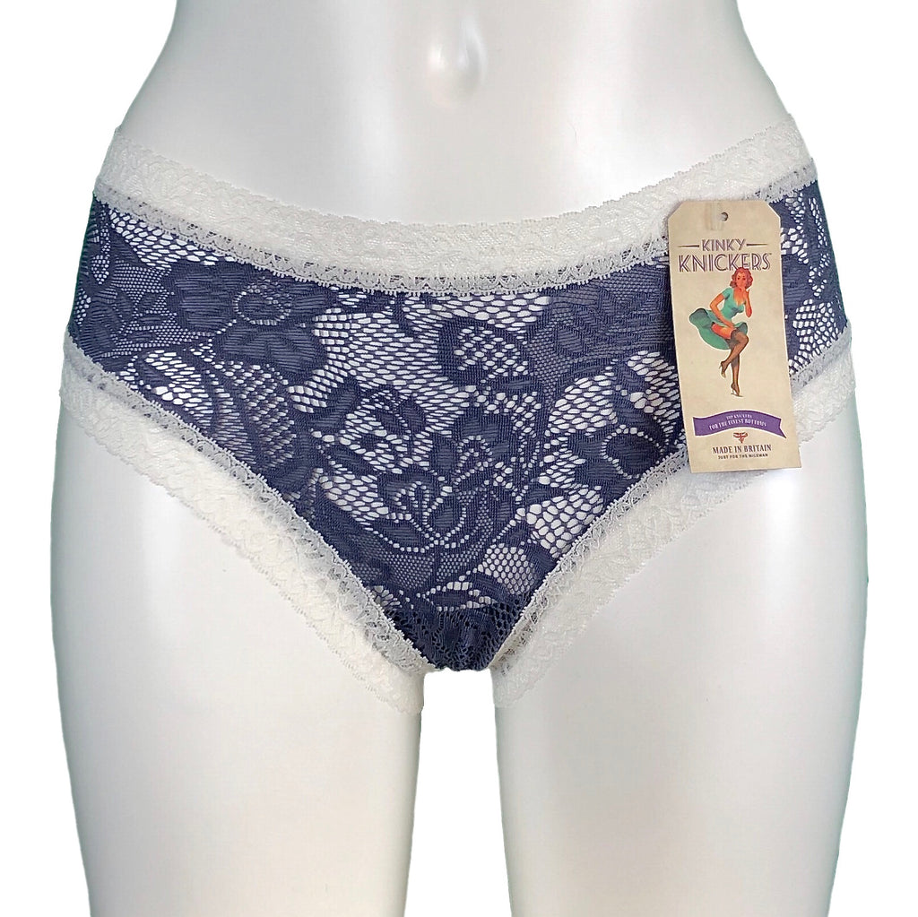 Signature Lace Classic Knicker - Silver Mist & Ivory