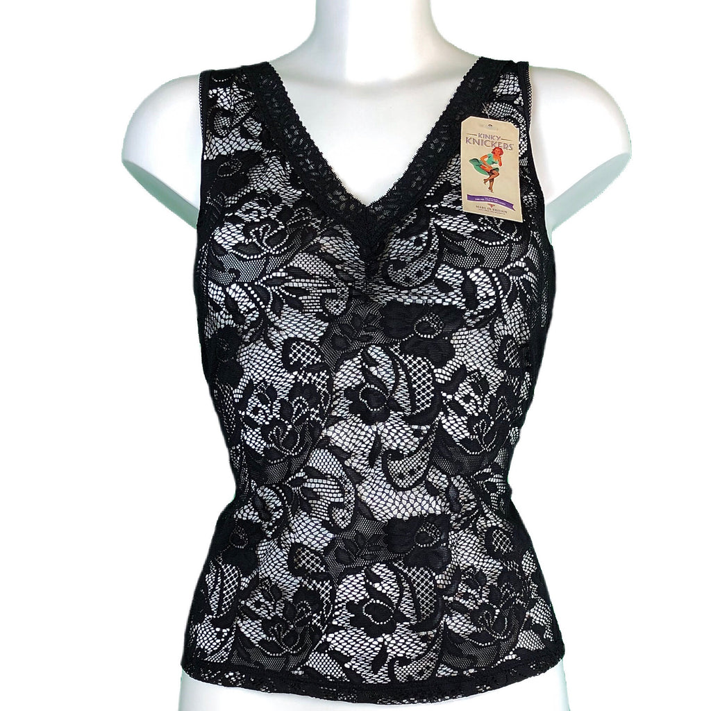 Kinky Knickers Black & Black Signature Lace Cami Vest
