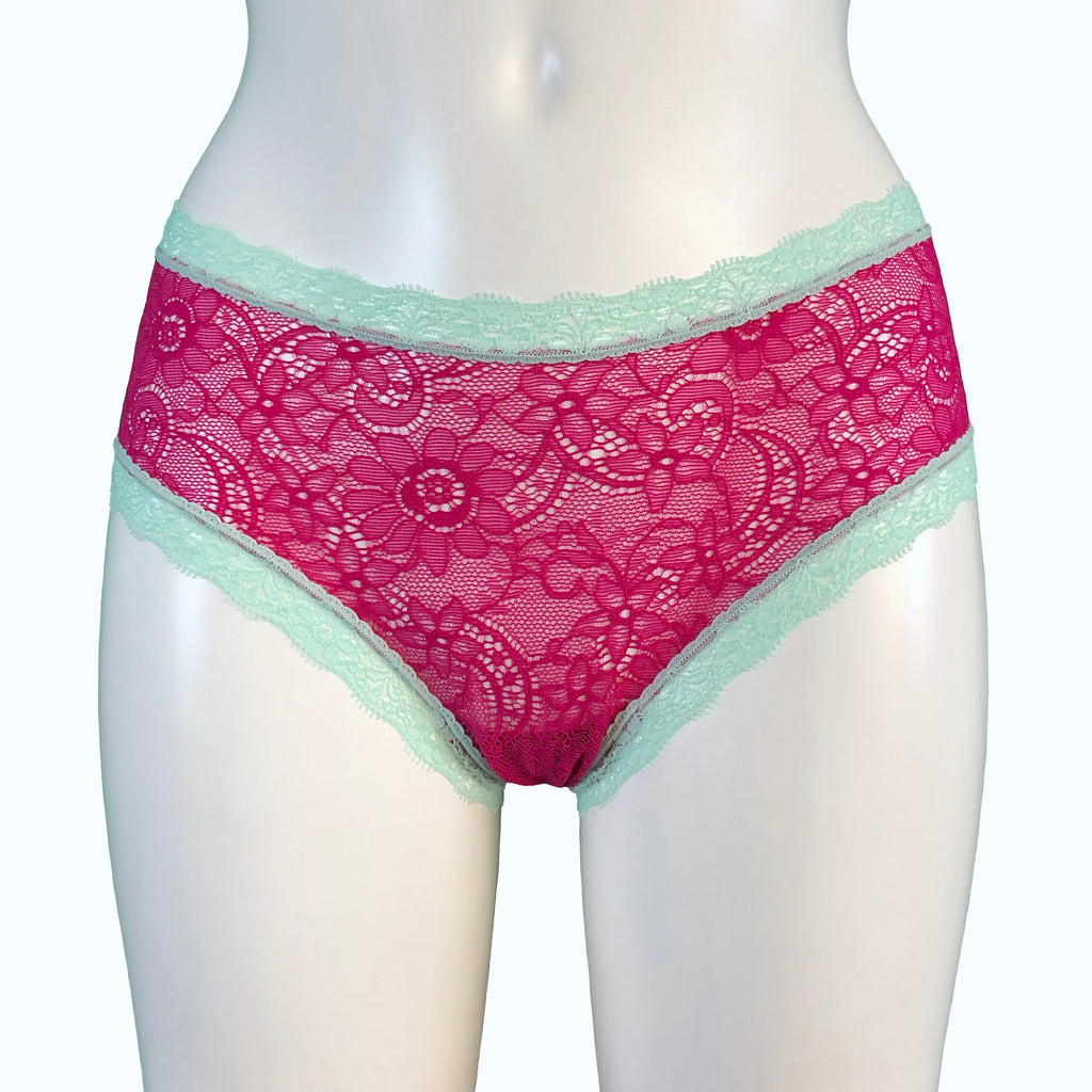 Super Soft Jacquard Lace Classic Knicker - Raspberry & Spearmint