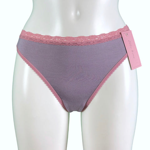 Soft Bamboo Jersey Thong - Grey Mist & Vintage Rose