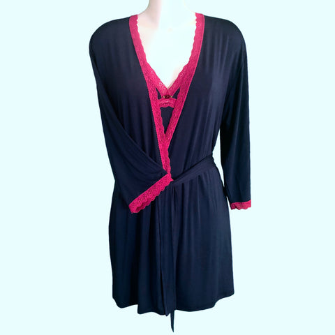 Bamboo Soft Knit Jersey Short Wrap - Navy & Raspberry