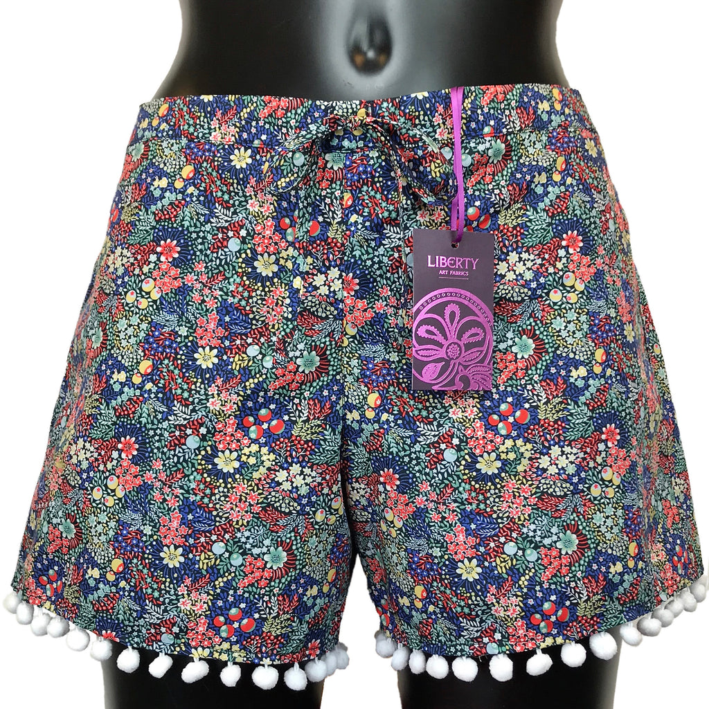 Kinky Knickers Elderberry Liberty Print Pom-Pom Shorts