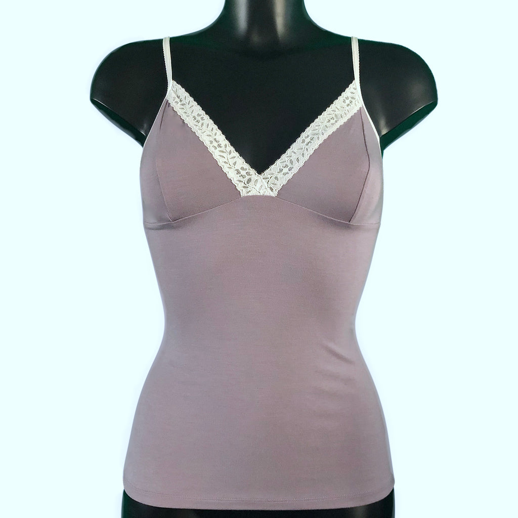 Bamboo Soft Knit Jersey Cami Top - Pebble