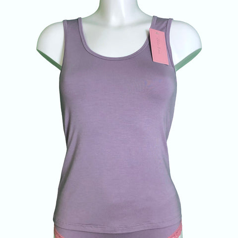 Soft Bamboo Jersey Scoop Neck Tank Top - Grey Mist