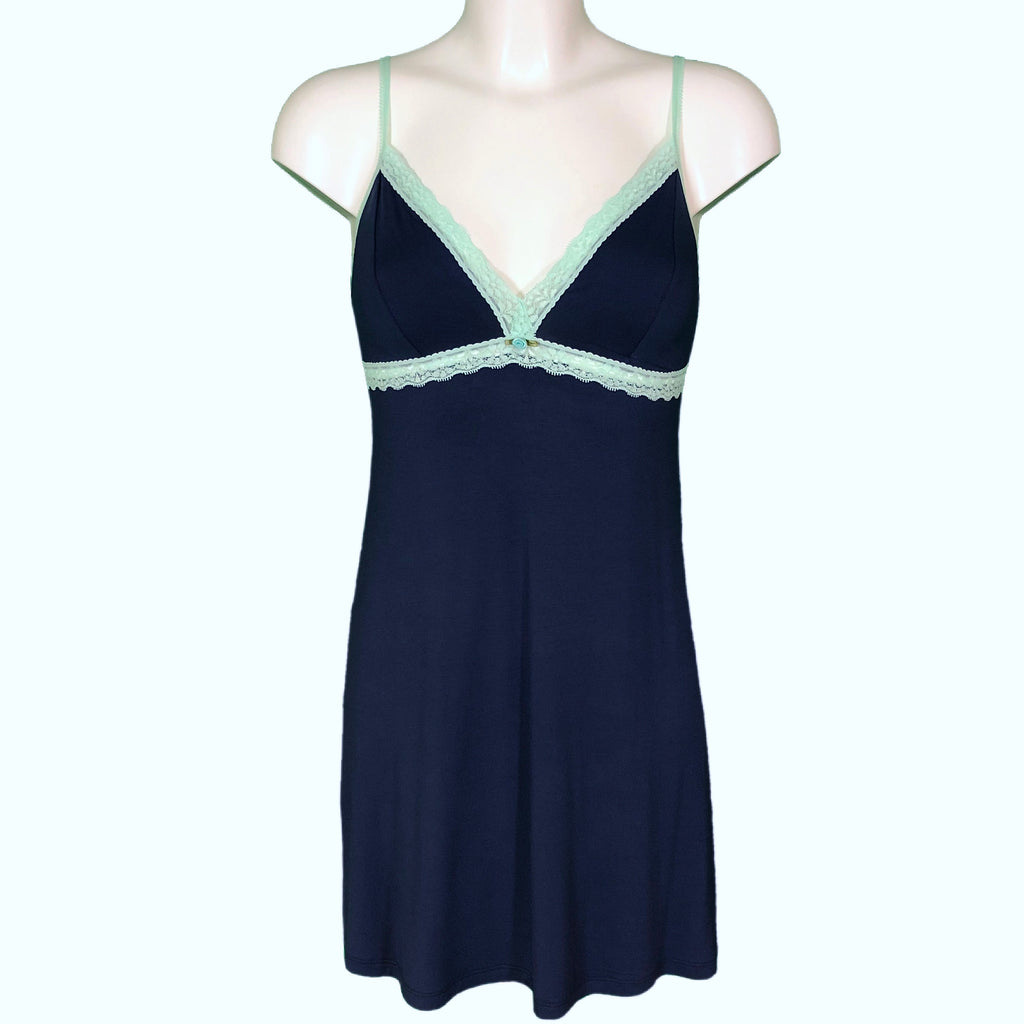 Bamboo Soft Knit Jersey Chemise - Navy & Spearmint