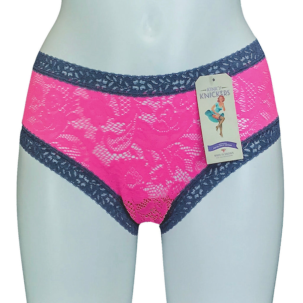 Kinky Knickers Cerise & Silver Mist Signature Lace Classic Knicker