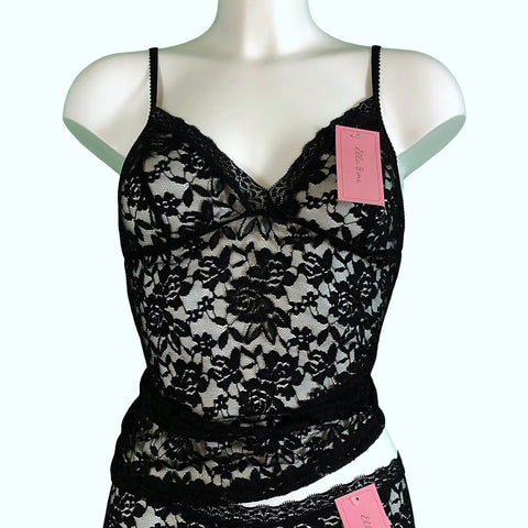 Signature Lace Strappy Cami Top - Black