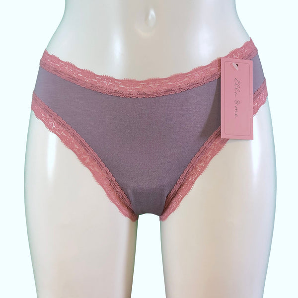 Soft Bamboo Jersey High Leg Knicker - Grey Mist & Vintage Rose