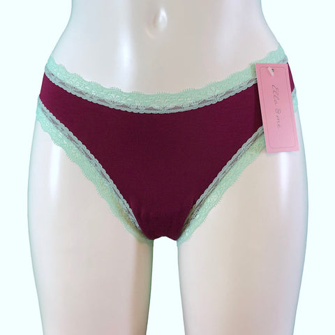 Soft Bamboo Jersey High Leg Knicker - Rosewood & Spearmint