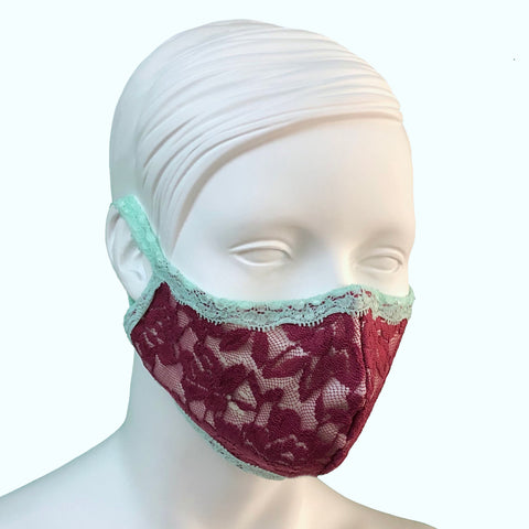 Lace & Silk Face Mask - Rosewood & Spearmint