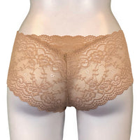 Jacquard Rose Lace Classic Knicker - Honey
