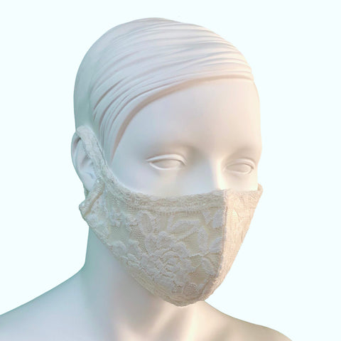 Lace & Silk Face Mask - Ivory & Ivory