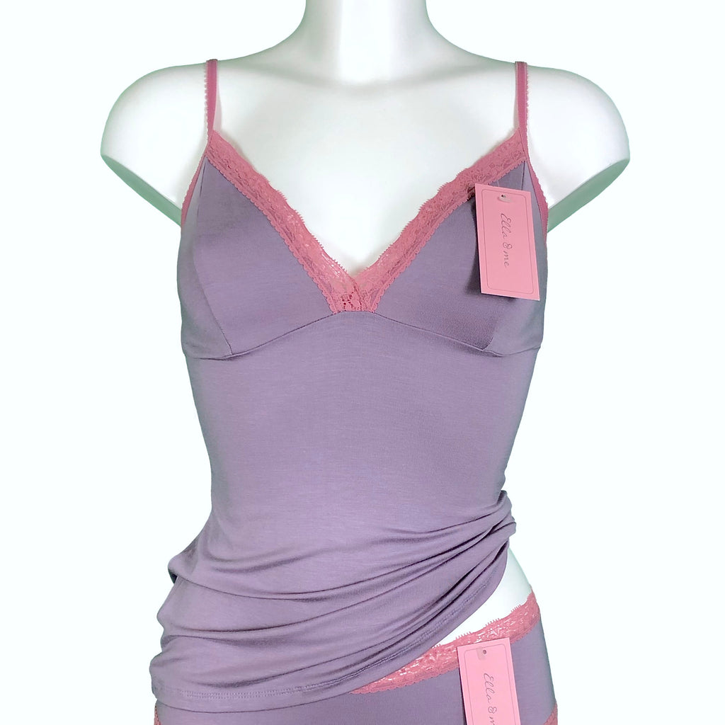 Soft Bamboo Jersey Strappy Cami Top - Grey Mist & Vintage Rose