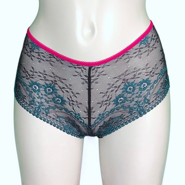 Textured Jacquard Lace Classic Knicker - Peacock & Cerise
