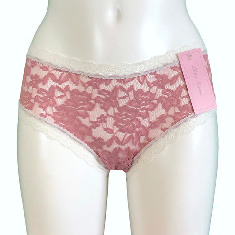 Signature Lace Classic Fit Knicker - Vintage Rose & Ivory