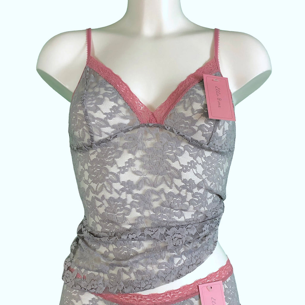 Signature Lace Strappy Cami Top - Grey Mist & Vintage Rose