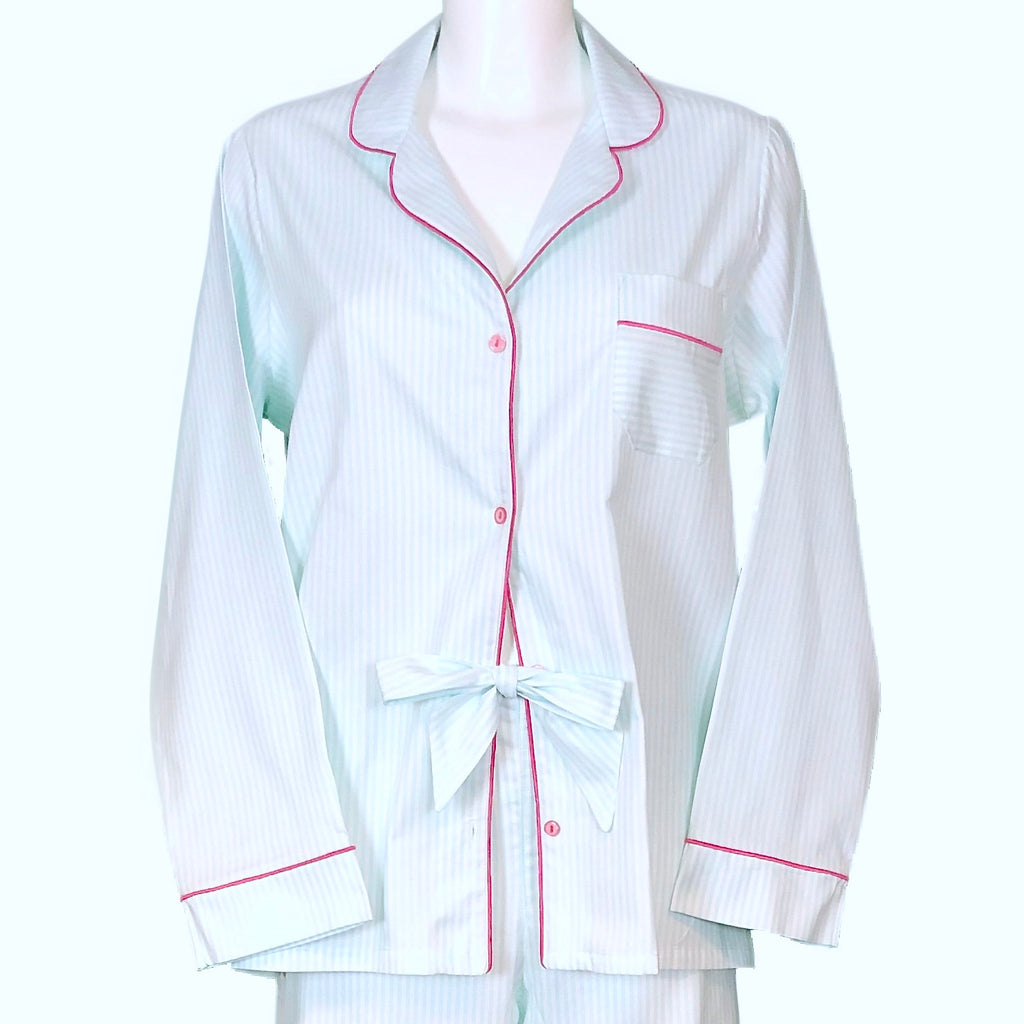Classically Tailored 'Boyfriend' Pyjama - Mint & White Stripe With Navy Piping