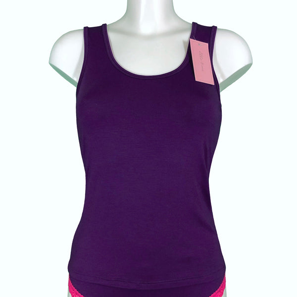 Soft Bamboo Jersey Scoop Neck Tank Top - Violet