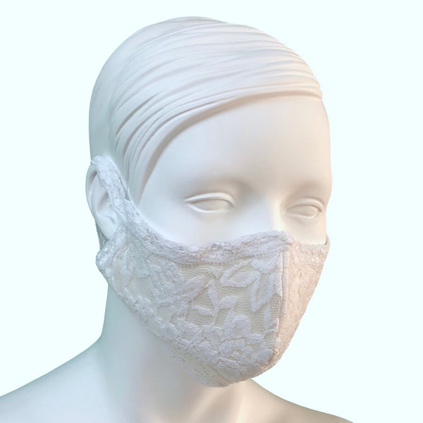 Lace & Silk Face Mask - White & White