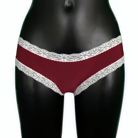 Soft Touch Cheeky Fit Brief - Claret & Ivory