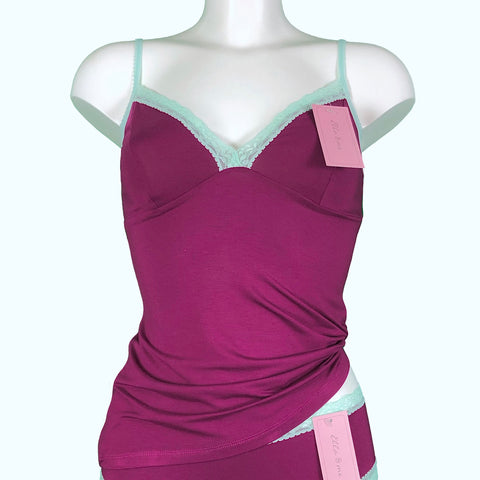 Soft Bamboo Jersey Strappy Cami Top - Rosewood & Spearmint