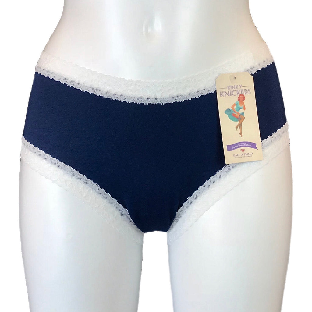 Bamboo Soft Knit Jersey Classic Fit Knicker - Navy & Ivory