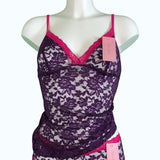 Signature Lace Strappy Cami Top - Violet & Raspberry