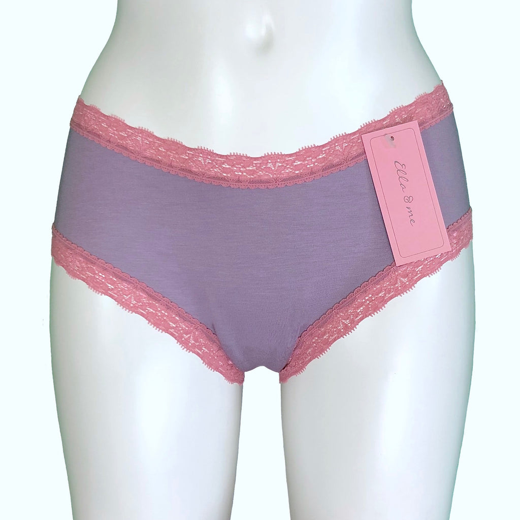 Soft Bamboo Jersey Classic Fit Knicker - Grey Mist & Vintage Rose