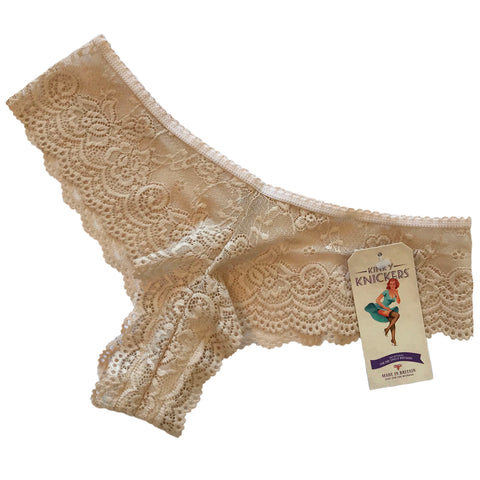 Jacquard Rose Lace Brazilian Knicker - Honey