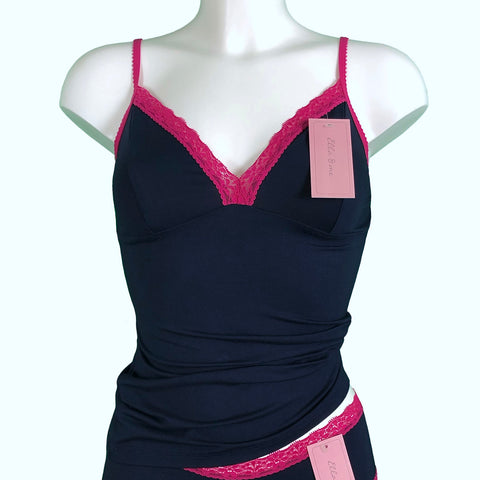Soft Bamboo Jersey Strappy Cami Top - Navy & Raspberry