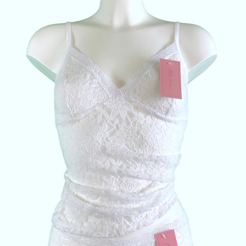 Signature Lace Strappy Cami Top - White