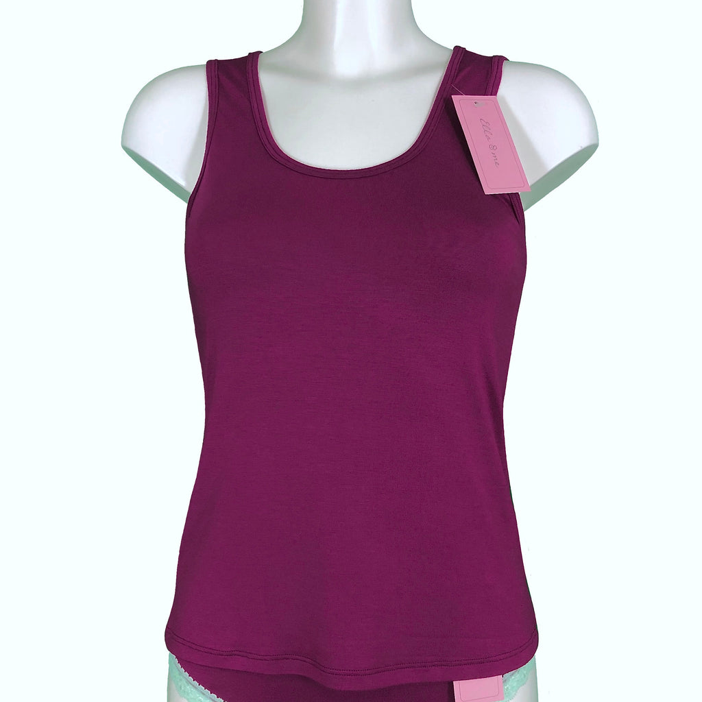Soft Bamboo Jersey Scoop Neck Tank Top - Rosewood