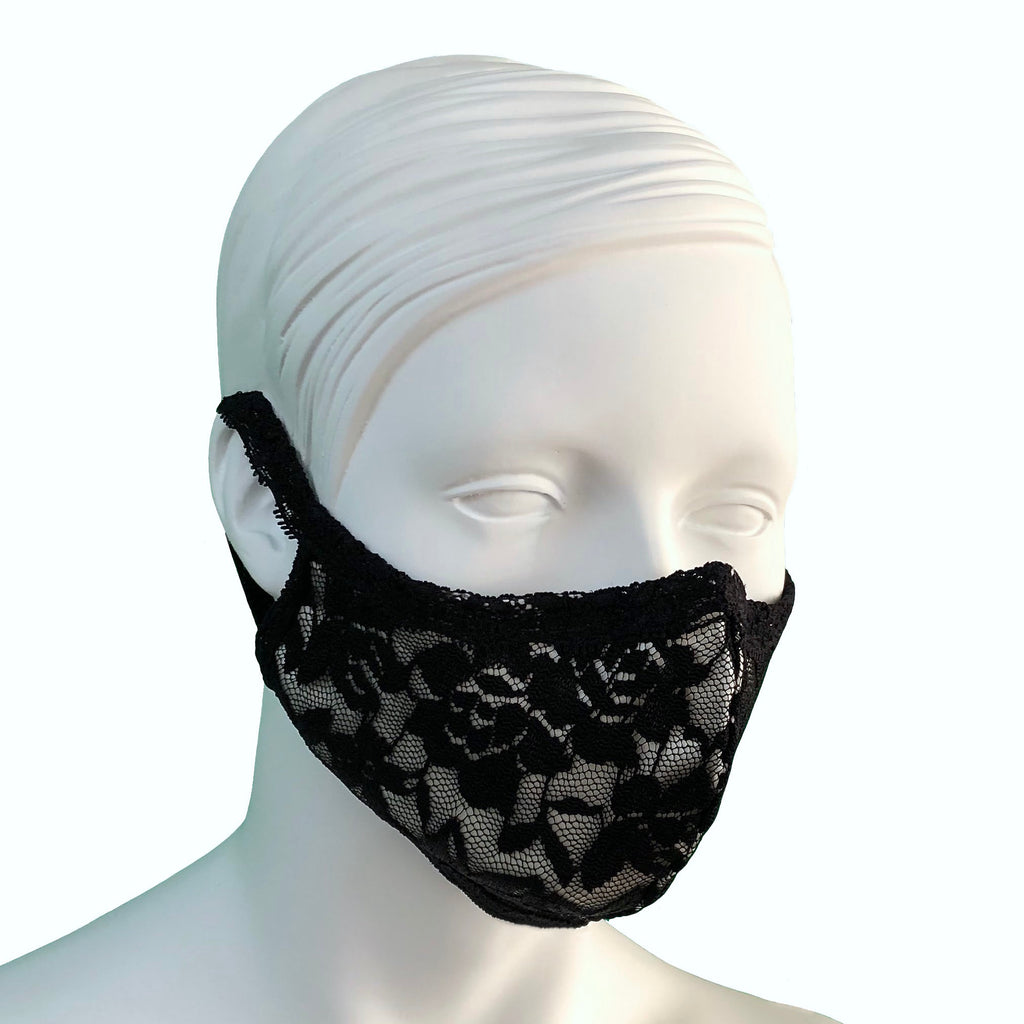 Lace & Silk Face Mask - Black & Black