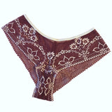 Textured Jacquard Lace Brazilian Knicker - Claret & Cream