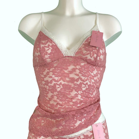 Signature Lace Strappy Cami Top - Vintage Rose & Ivory